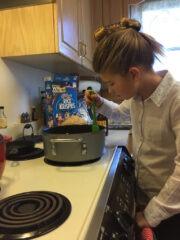 Katie Beth Making Rice Crispy Treats